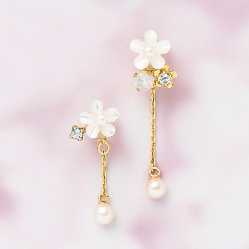 【FEEL THE COLORS】K18・K10 アクアマリン 2wayお花バックチャームピアス